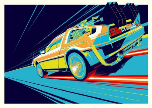 1980's Movie - BACK TO THE FUTURE - DELOREAN TIME canvas print - self adhesive poster - photo print